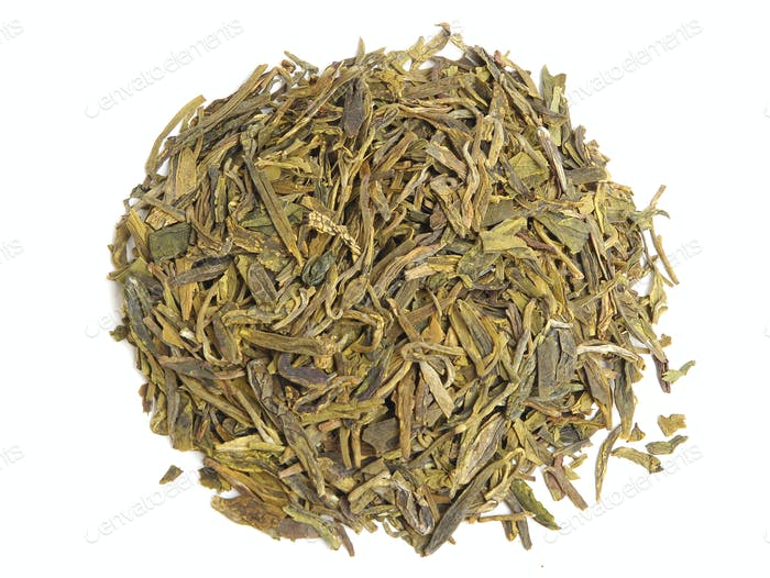 Aromatic green tea leaves