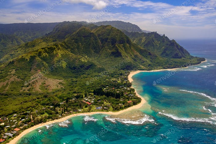 Aerial landscape view of shoreline at Na Pali coast, Kauai, Hawaii