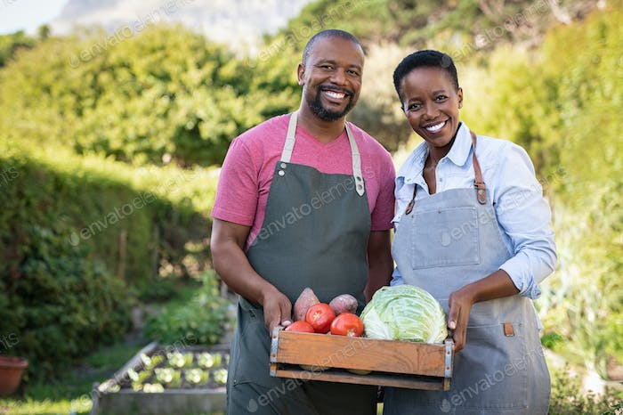 African farmer couple holding vegetable crate