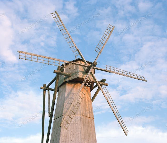 rustic landscap - windmill, film photography