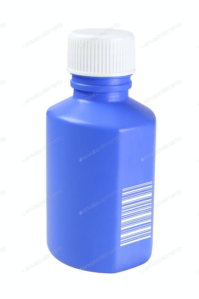 Blue Plastic Medicine Bottle