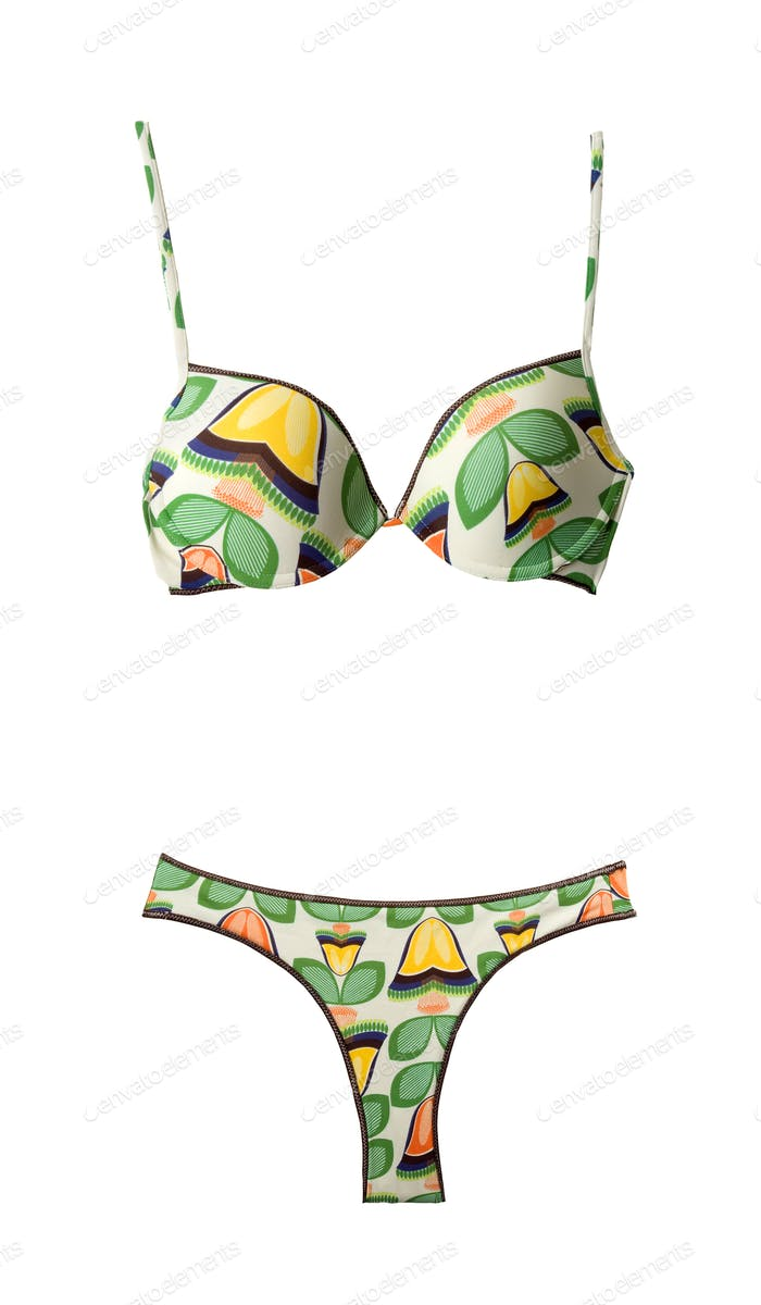 Yellow and orange tulips pattern bikini