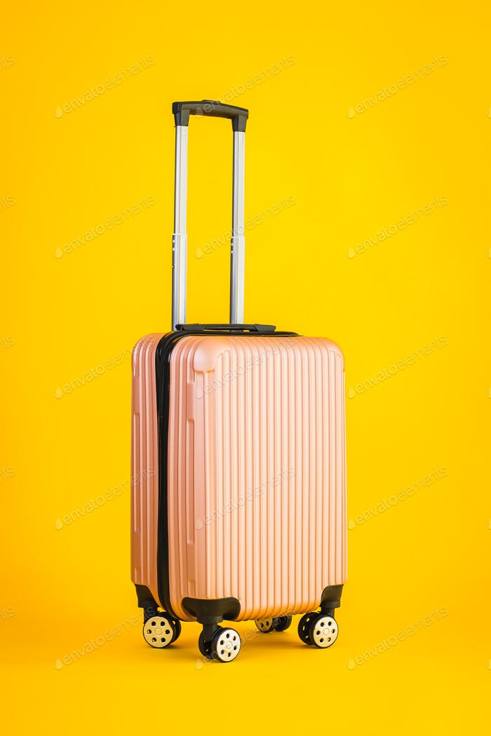Pink color luggage or baggage bag use for transportation travel
