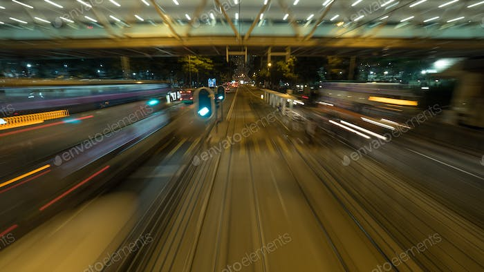 View from moving tram in night Hong Kong