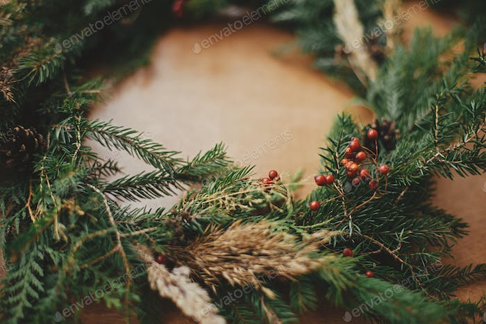 Rustic Christmas wreath detail closeup