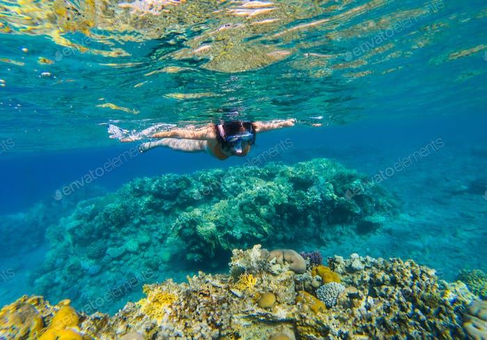 Frau schnorcheln über Korallenriff