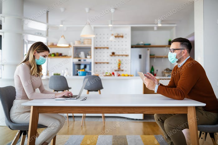 Social distance and online work with technology devices at home, office
