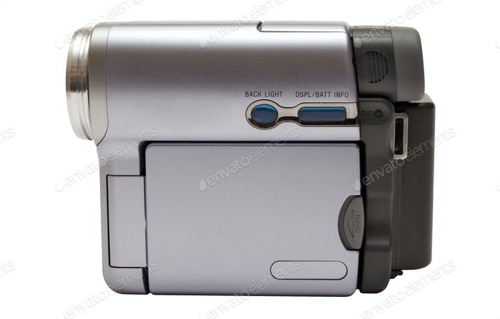 Consumer Camcorder with Clipping Path Isolated on a White Background