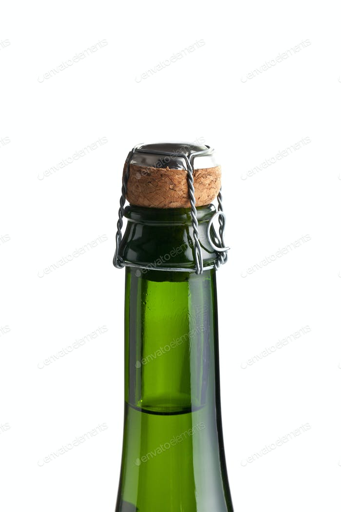 Top of champagne bottle with cork .