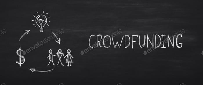 Crowdfunding white inscription with dollar sign, light bulb, people