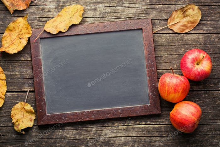 autumn apples and chalkboard