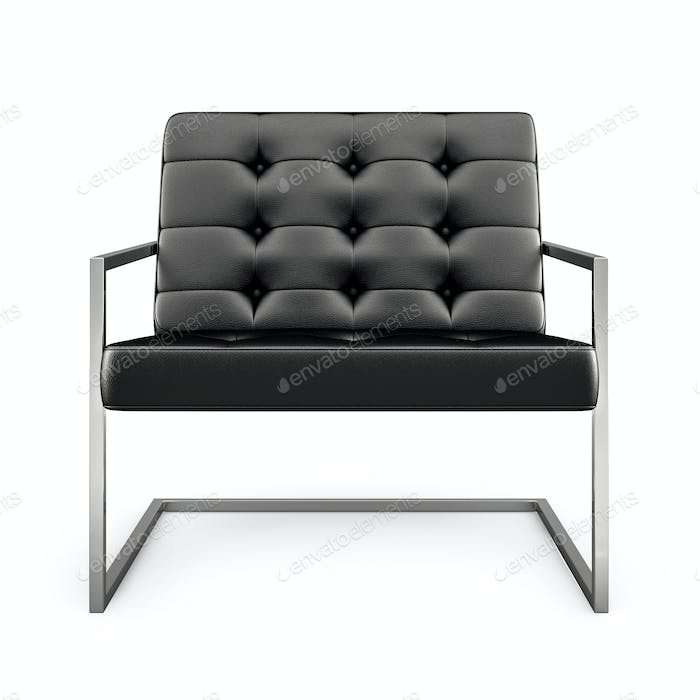 Black modern armchair isolated on white background 3D rendering