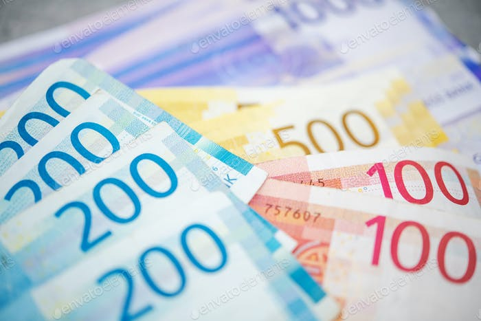 Norwegian Krones Banknotes on a Table
