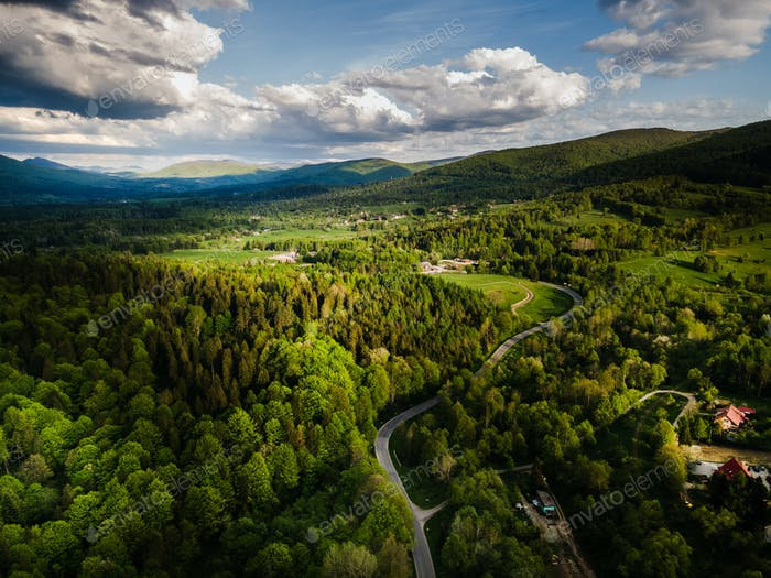 Drone View at Bieszczady Mountains Landscape
