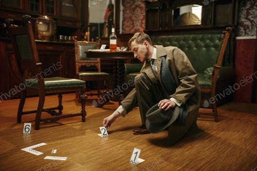 Detective collecting evidence at the crime scene
