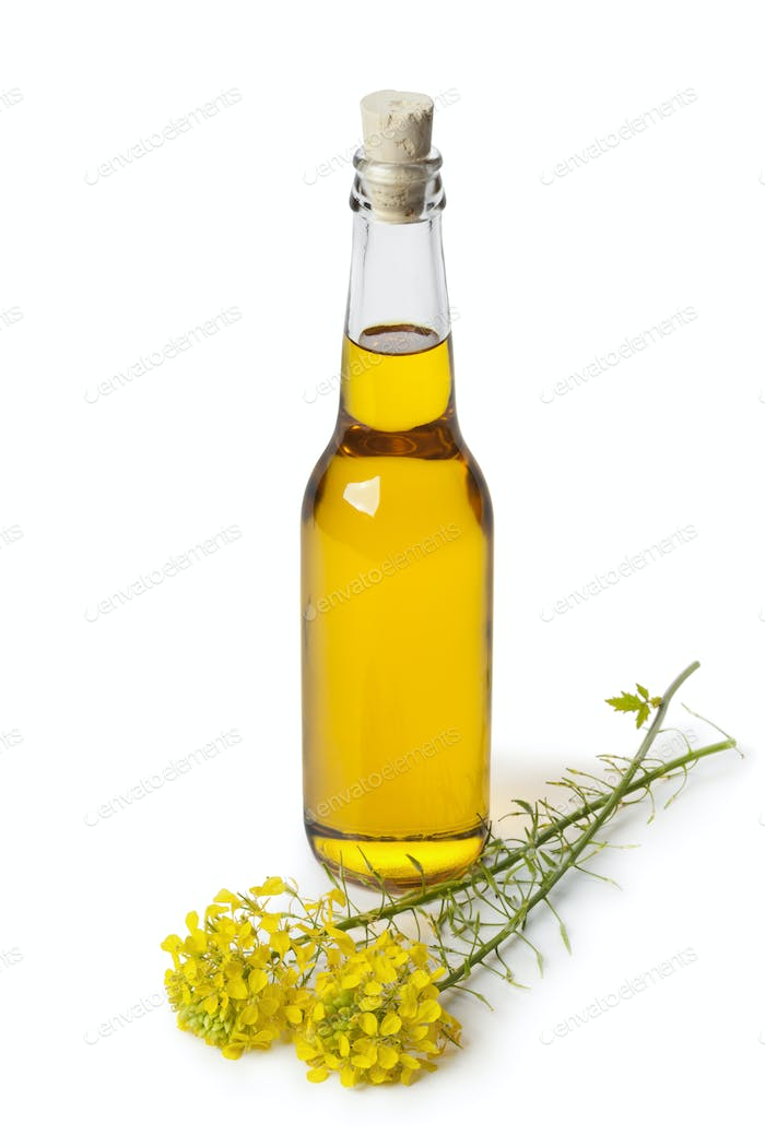 Rapeseed oil in a bottle