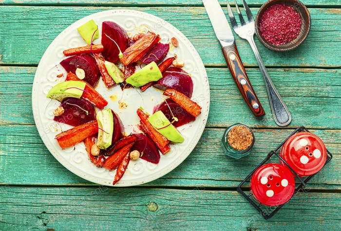 Plate with tasty salad