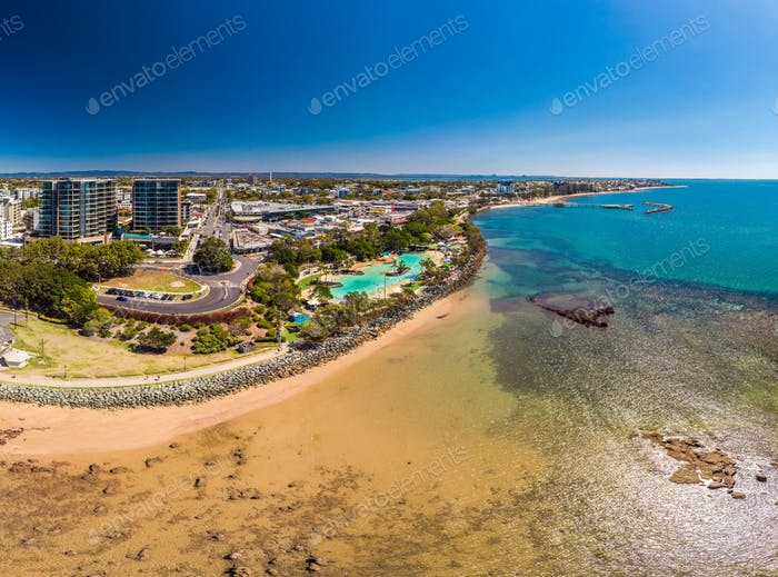 Aerial drone view of Settlement Cove Lagoon, Redcliffe, Australi