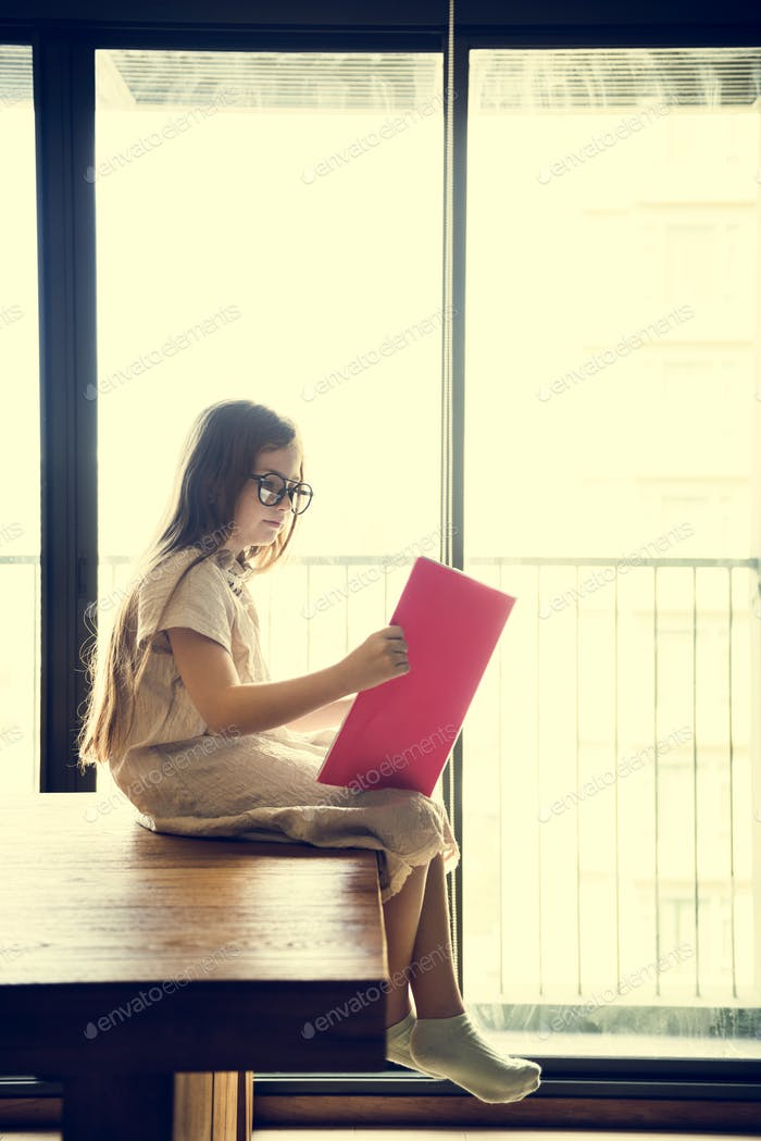 Girl Reading Book Literature Concept