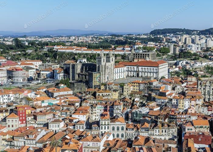 Aerial view of Porto cityscape, Porto, Portugal