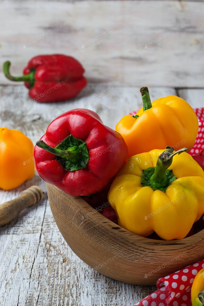 Fresh ripe red and yellow bulgarian pepper