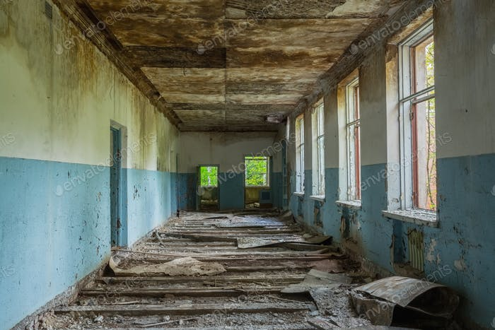 Ruined Long Corridor Of Abandoned School After Chernobyl Nuclear