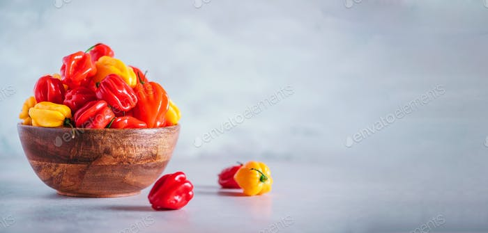 Yellow and red scotch bonnet chili peppers in wooden bowl over grey background. Copy space