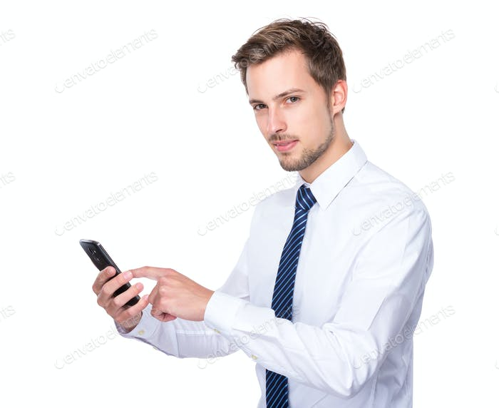 Businessman use of cellphone