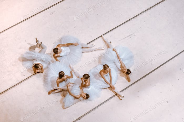The seven ballerinas on floor