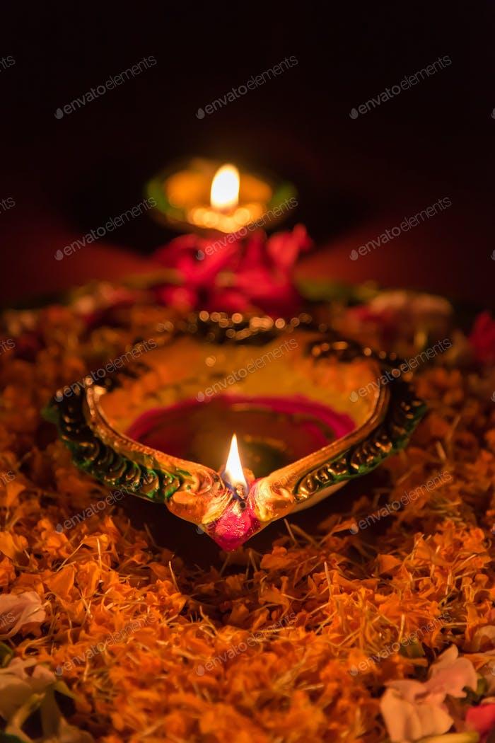 The lighting of the diya or lamp