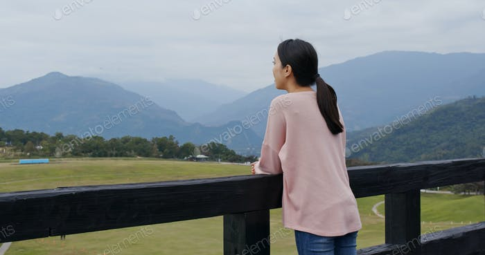 Woman visit Luye Highland hot air balloon area in taitung