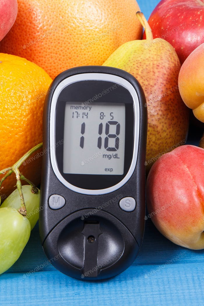 Glucometer for measuring sugar level and healthy food as source vitamins, diabetes concept