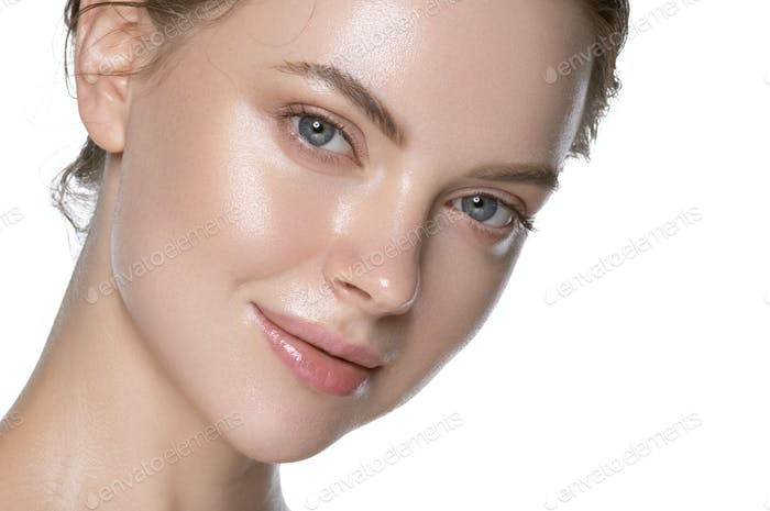 Glamour fresh sexy young woman healthy hydration clean skin face. Isolated on white.