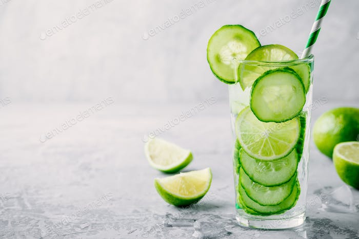 Infused detox water with  cucumber and lime.