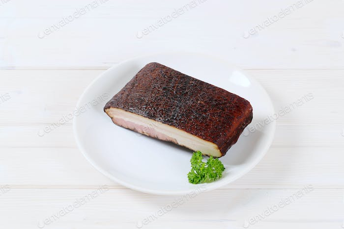 piece of smoked bacon