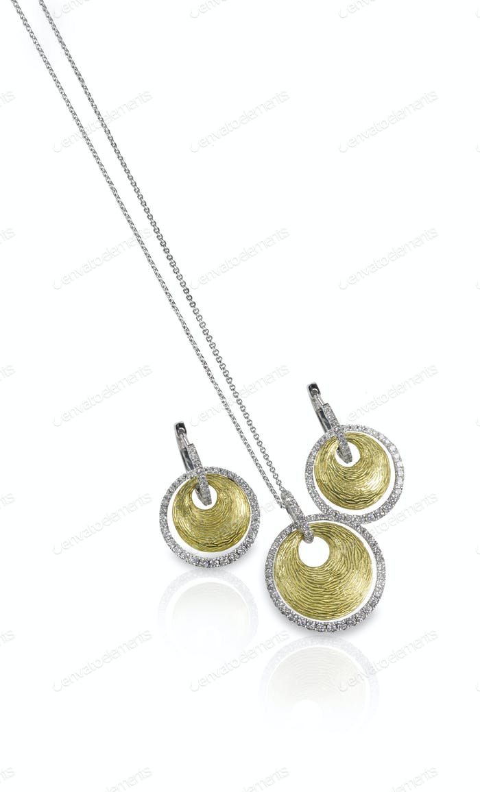 Diamond white and yellow gold fashion necklace and earring set