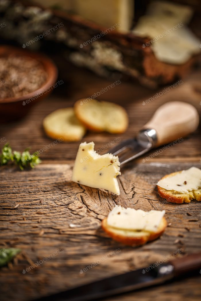 Cheese with caraway seeds