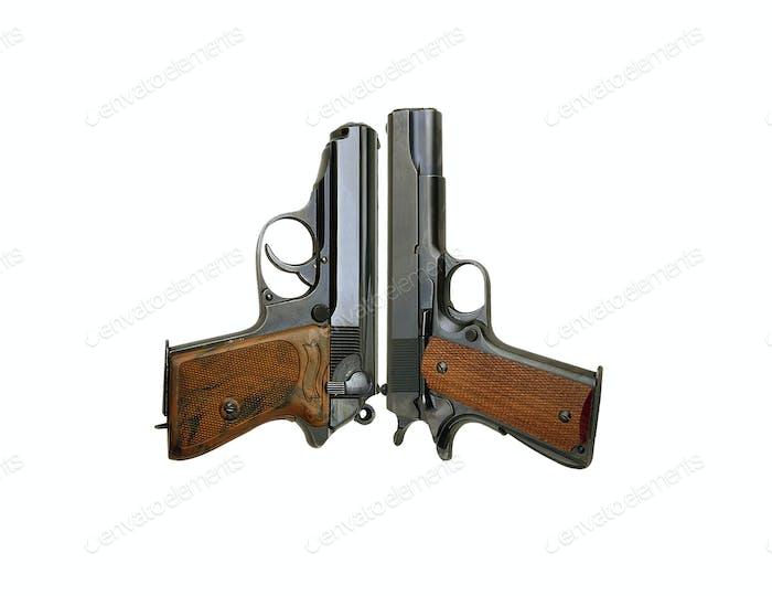 Zwei Handfeuerwaffen