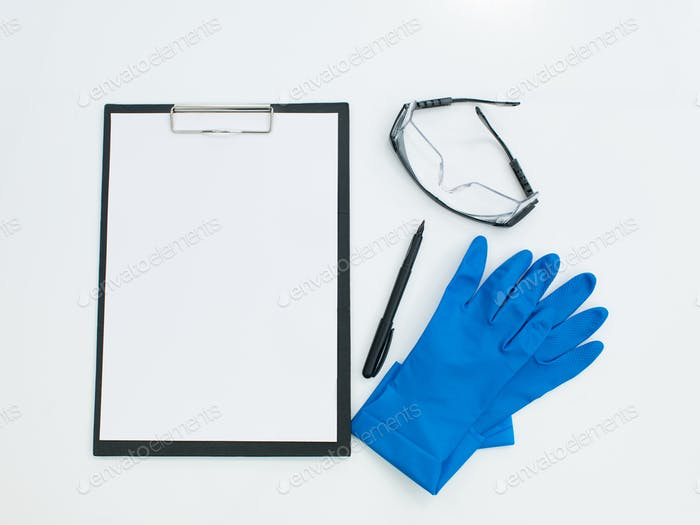 protective laboratory accessories with pen and clipboard