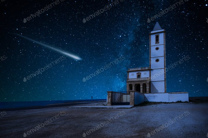 Perseid Meteor Shower and the Milky Way over castle over church