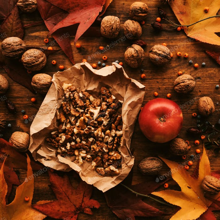 Apple and walnut, autumn abundance