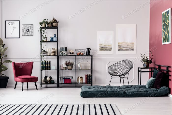 Armchair, shelf and mattress