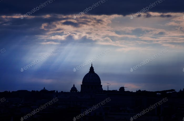 Saint Peter's basilica at dusk. Vatican city, Rome