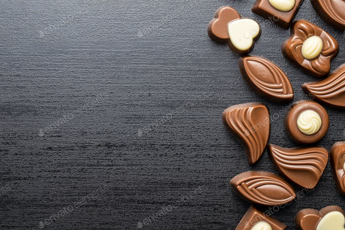Various chocolate pralines