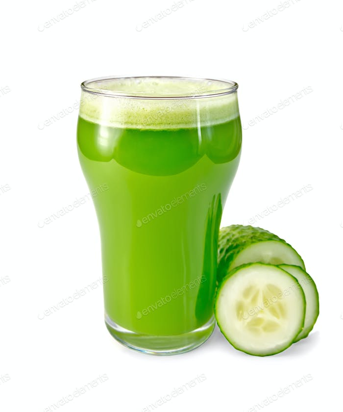 Juice cucumber in glass with a cucumber