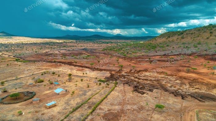 aerial landdcape of the masaai land in Tanzania,
