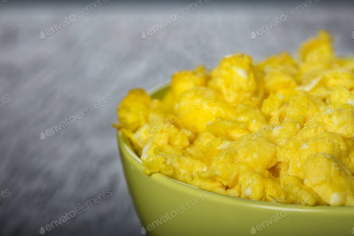 bowl filled with scrambled eggs