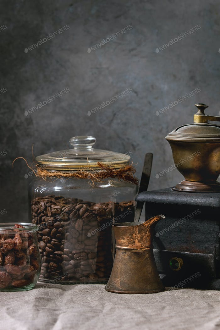 Coffee beans in jar