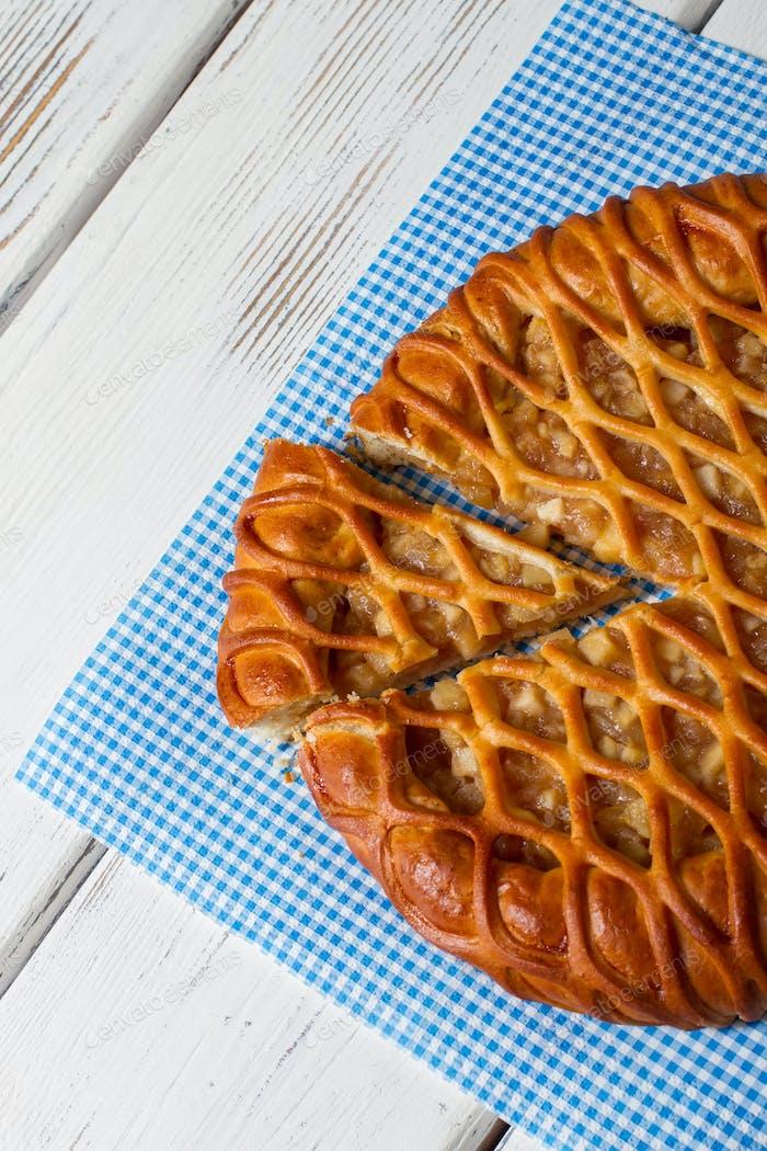 Sliced pie on a napkin.