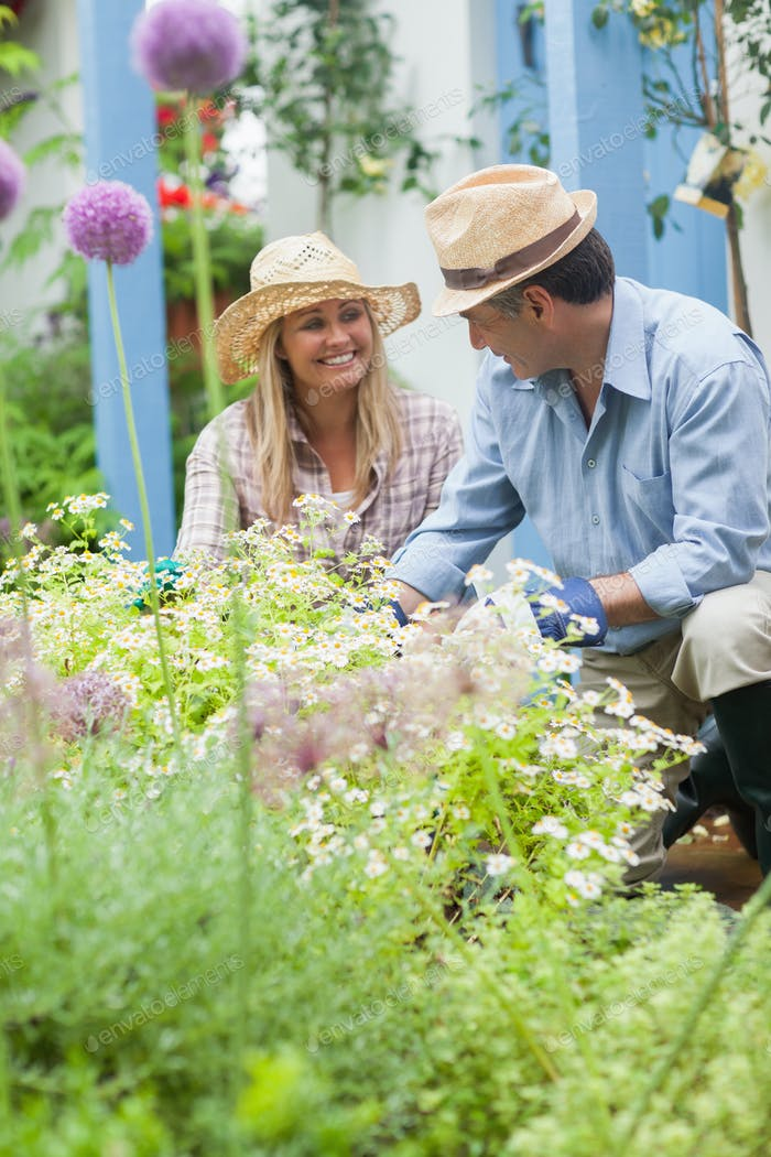 Couple wearing hats having fun gardening